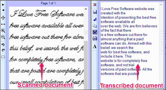 Software to Transcribe Scanned Documents