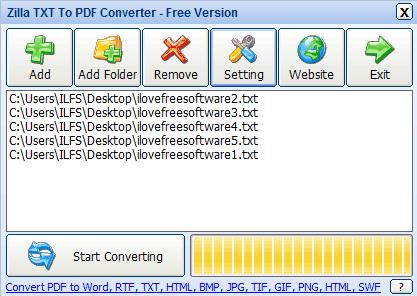 Zilla TXT To PDF Converter- interface