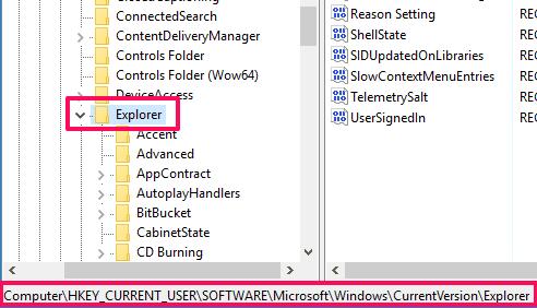 access Explorer key
