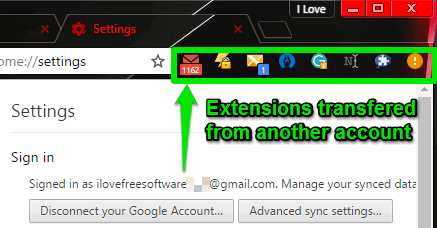 account 2 extensions transfered