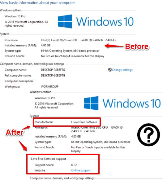 add manufacturer info in sytem window in windows 10