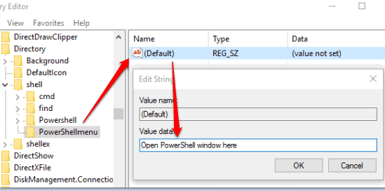 add open PowerShell window here in value data of default string value