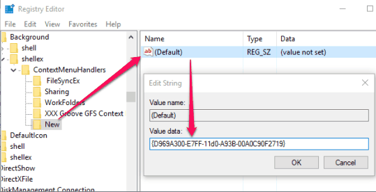add value data in default string value