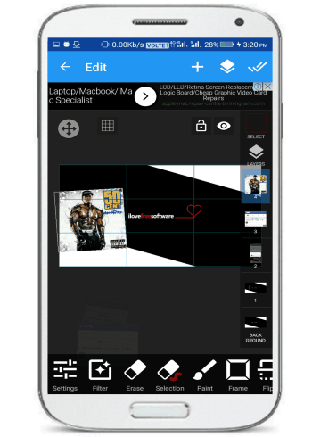 andorid photo editing app with multi layer support