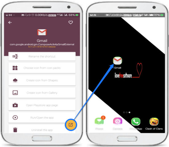 app activity shortcut created
