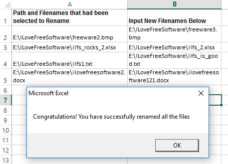 Bulk Rename Files using Excel Macro