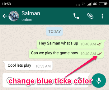 chnage blue ticks color