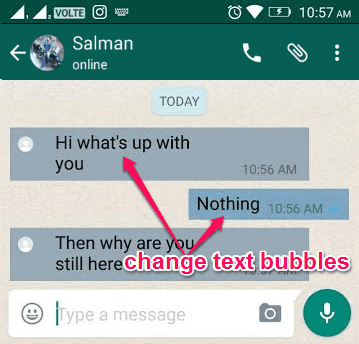 chnage text bubble