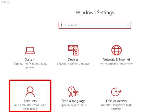click accounts menu in settings