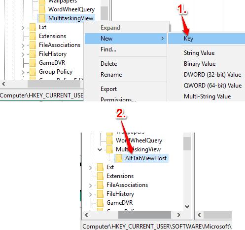 create AltTabViewHost key under MultitaskingView key