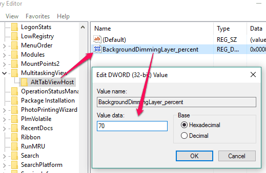 create BackgroundDimmingLayer_percent dword value and set value data