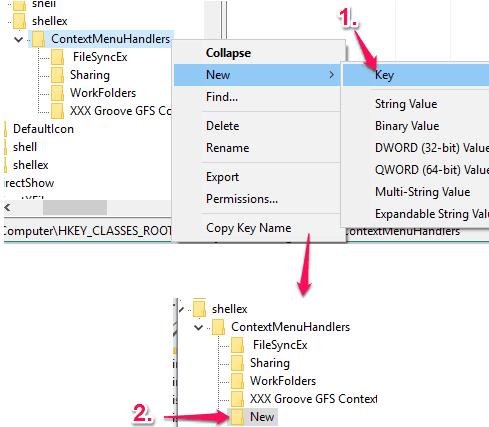 create New key under ContextMenuHandlers