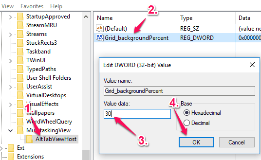 create a grid_backgroundpercent dword value and set its value data