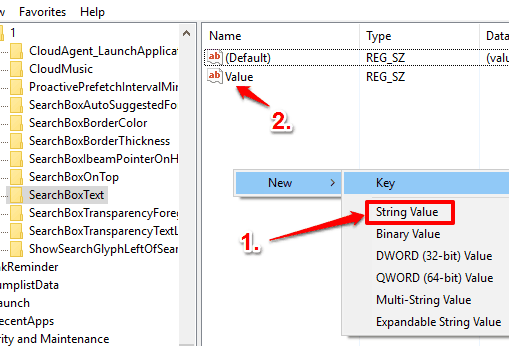 create a value name string value