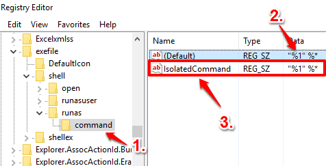 create command key and IsolatedCommand string value and enter the value data