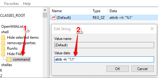 create command key and set value data in default string value