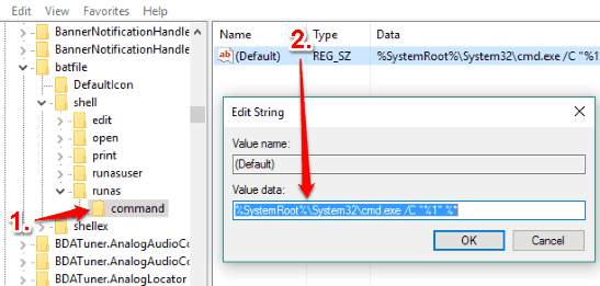 create command key and set value data of default string value