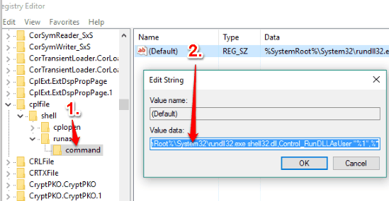 create command key and then set value data of default string value
