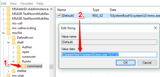 create command key under RunAs key in shell key and set value data of default string value