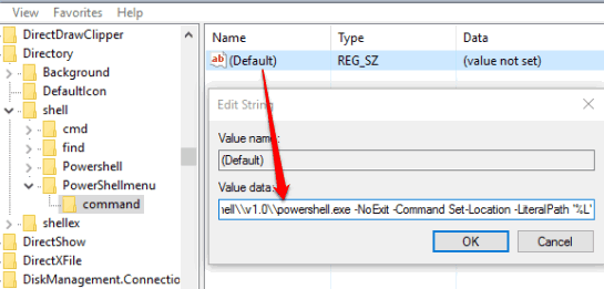create command key under powershellmenu and set value data of its default string value