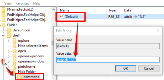 create command key under the Hide Folder key and set value data in default string value