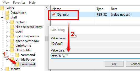 create command key under the Unhide Folder key and set value data in default string value