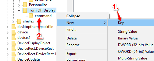 create command key under turn off display key