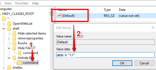 create command key under unhide file key and set value data of default string value