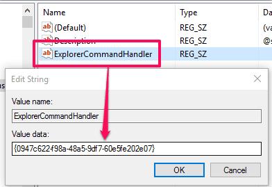 create explorercommandhandler value and set its data