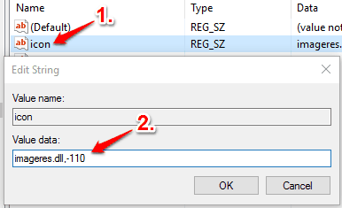 create icon string value and set its value data