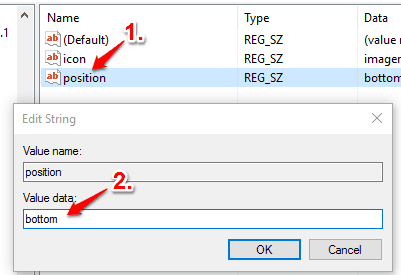 create position string value and set its value data