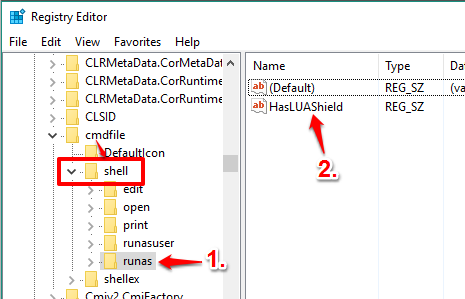 create runas key under shell key in cmdfile and create a string value with HasLUAShield name