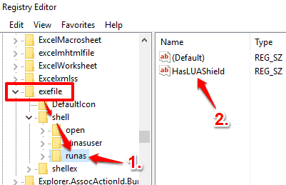 create runas key under shell key in exefile and create a string value with HasLUAShield name