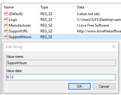 create support hours string value