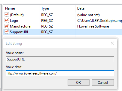 create support url string value