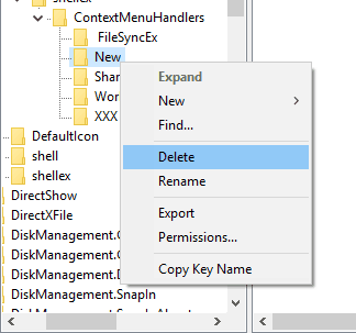 delete the new key