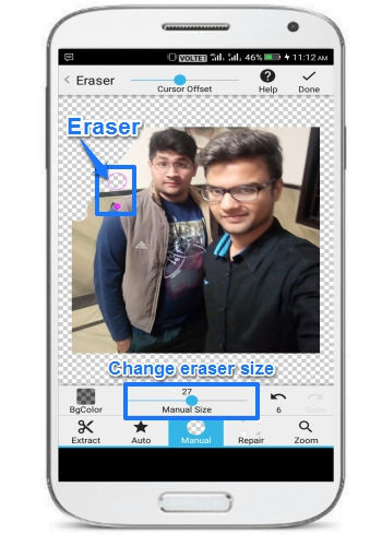 edit photo background on Android-background eraser- manual mode to remove photo background