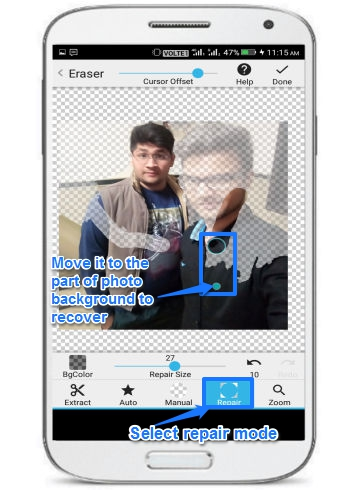 edit photo background on Android-background eraser- repair mode to revert changes
