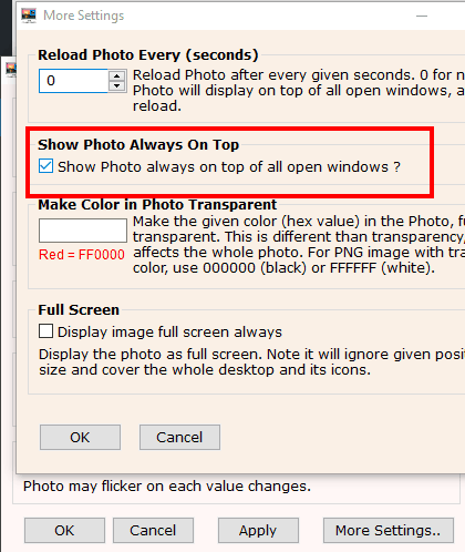 enable option to show photo always on top of other windows