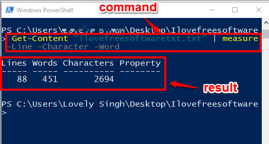 find number of lines, words, characters available in a file using powershell