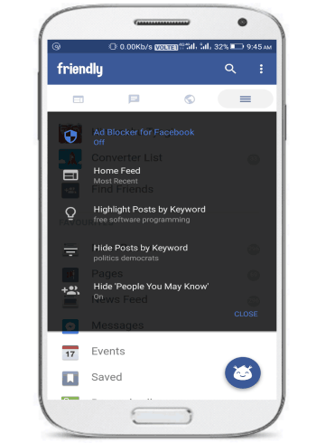 free lite alternative Facebook app- friendly for facebook-news feed filtering options