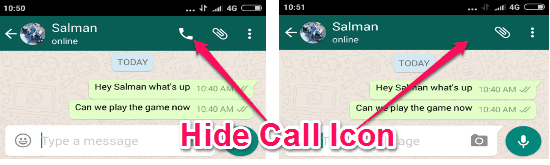 hide call icon