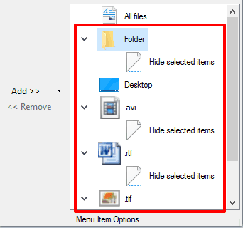 hide selected items option added for folders and different file types