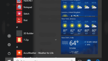 how to show weather for multiple cities visible in Windows 10 Start menu