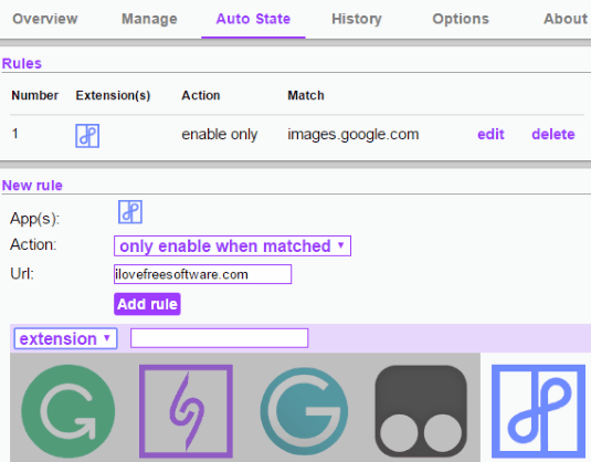 manage auto state of chrome extensions