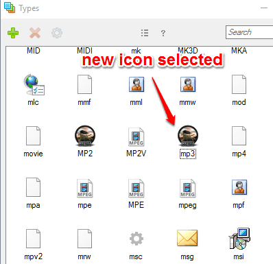 new icon selected for the file type