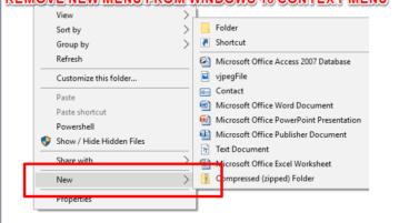 remove new menu from windows 10 context menu