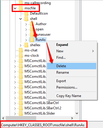 remove runas key from shell key available under mscfile key