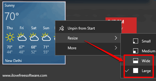 See Weather Forecast for A City In Windows 10 Start Menu