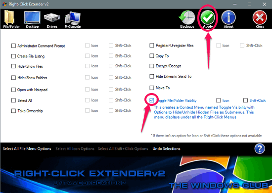 right click extender interface